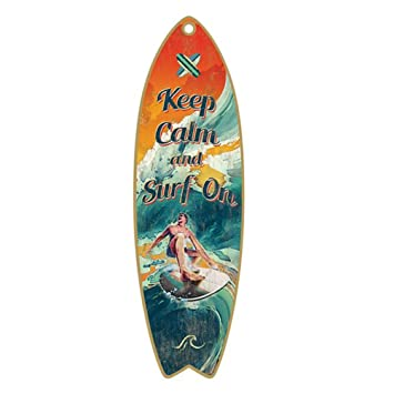 "De madera Tabla de surf verano playa placa decorativa 5 "" ..."