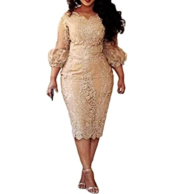 Liliesdresses Womens 3/4 Lace Sleeves Short Prom Gown Applique Plus Size Evening Dress Mermaid