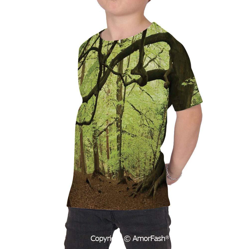 PUTIEN Woodland Decor Colorful Boys and Girls Soft Short Sleeve T-Shirt,English Woodlan