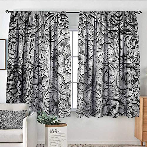 Anzhutwelve Modern,Kid's Customized Curtains Wood Carving Effect Floral 72