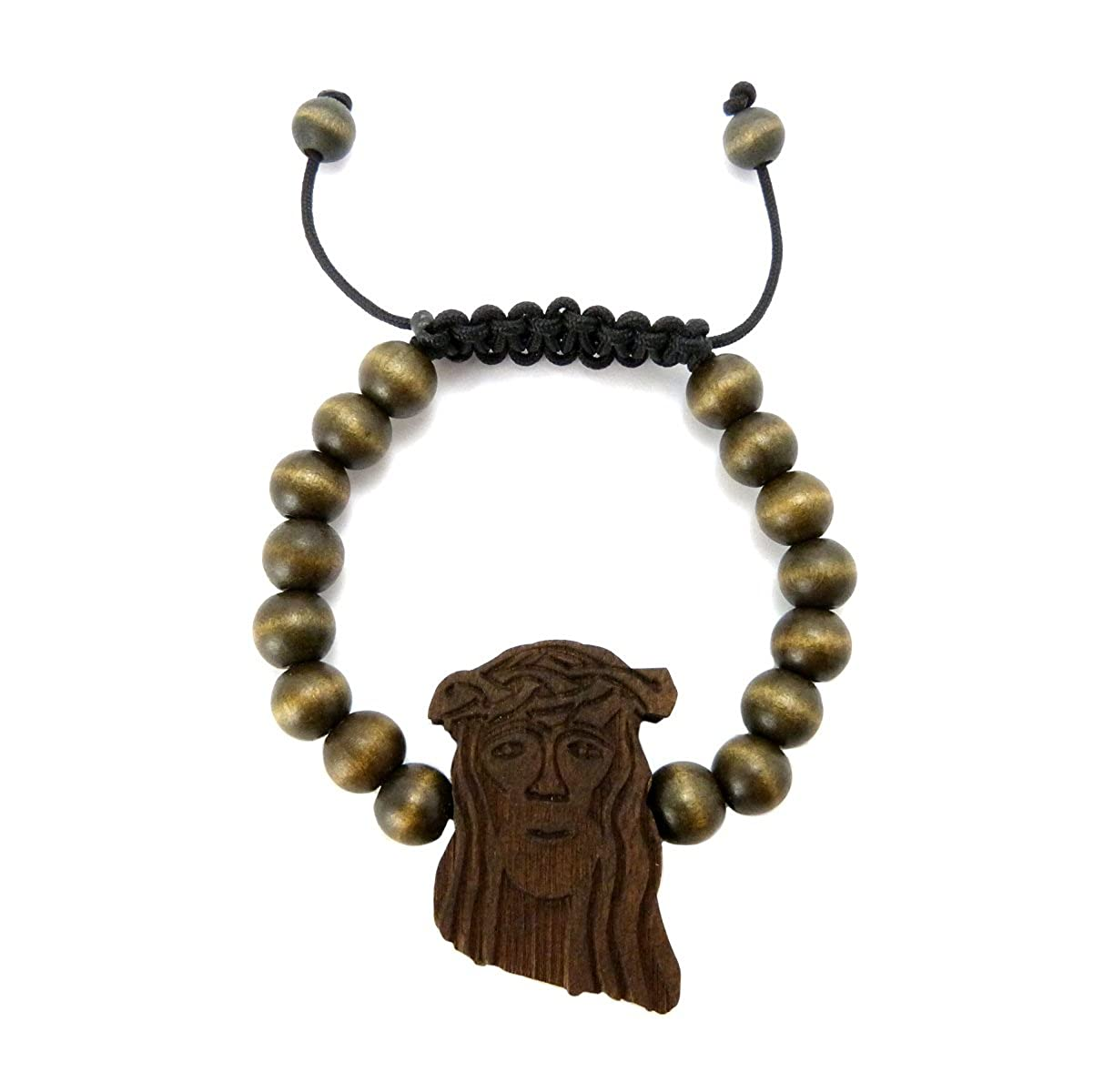 Amazoncom Jesus Piece Wooden Bead String Bracelet Black Jewelry