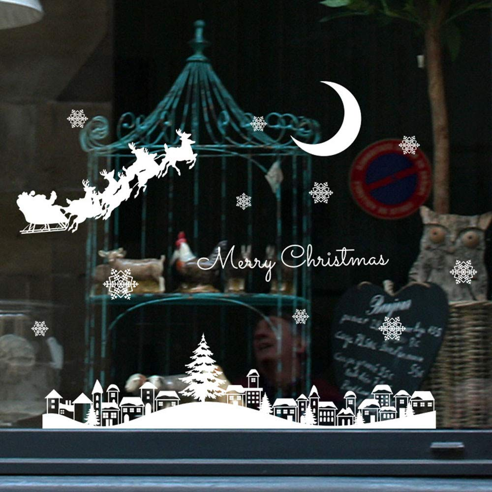 Merry Christmas Stickers for Window,Christmas Restaurant Mall Decoration Snow Glass Window Removable Stickers BOLUOYI 3.43
