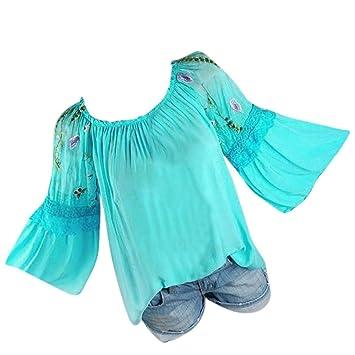 Camisas Mujer Tallas Grandes,Modaworld Moda Blusa de Mujer Floral Bordado Encaje Flare
