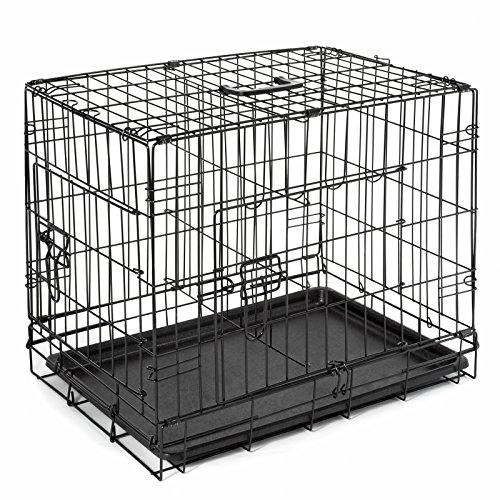 SmithBuilt Double Door Folding Metal Dog Crate, 42 Inch Long with Divider