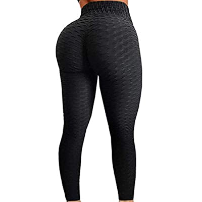 FITTOO Womens High Waist Textured Workout Leggings Booty Scrunch Yoga Pants Slimming Ruched Tights at Women's Clothing store