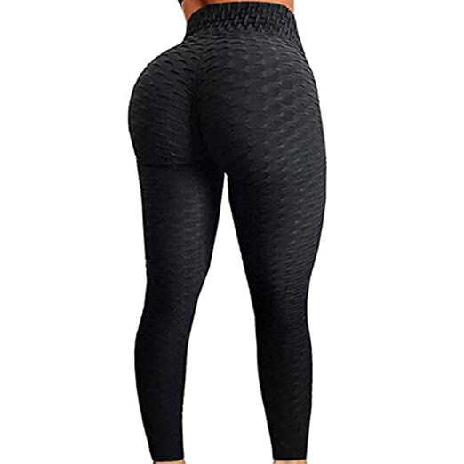 fdcb900d6b FITTOO Womens High Waist Textured Workout Leggings Booty Scrunch Yoga Pants  Slimming Ruched Tights