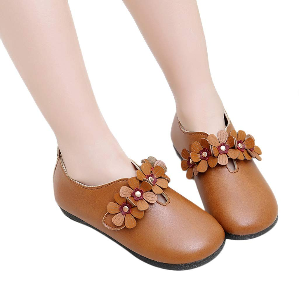 Toddler Girl Princess Sandals Leather Flower Single Shoes Casual Slip on Shoes Party Dress Princess Shoes for Toddlers /& Girls
