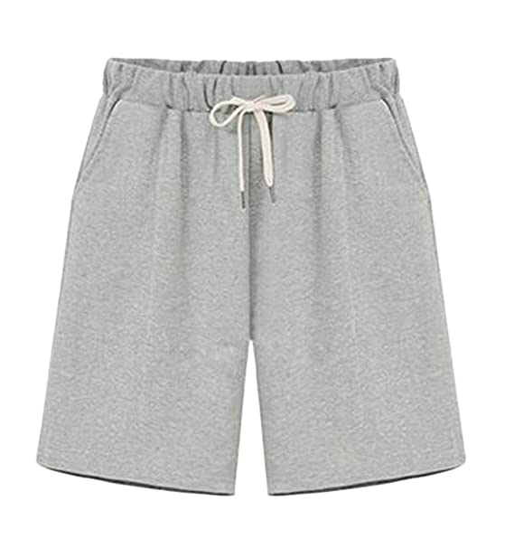 0787c769da Pandapang Women Straight Leg Casual Elastic Waist Sports Plus Size Bermuda  Short at Amazon Women's Clothing store: