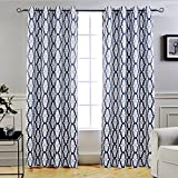DriftAway Mason Thermal Blackout Grommet Window Curtains, Geometric Trellis Pattern, Set of Two Panels, each size 52″x84″ (Navy) Review