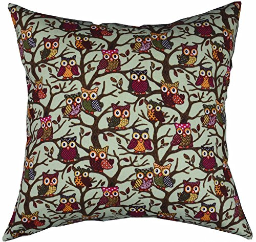 LivebyCare Multi-Sized Both Sides Night Owl Printed Cushion Cover Linen Cotton Throw Pillow Case Sham Pattern Zipper Pillowslip Pillowcase for Decor Decorative Club Pub Coffee House Bar
