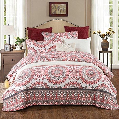NEWLAKE Reversible Bedspread Quilt Set, Red Kaleidoscope Pattern, Queen Size (Bedspread Queen Red)