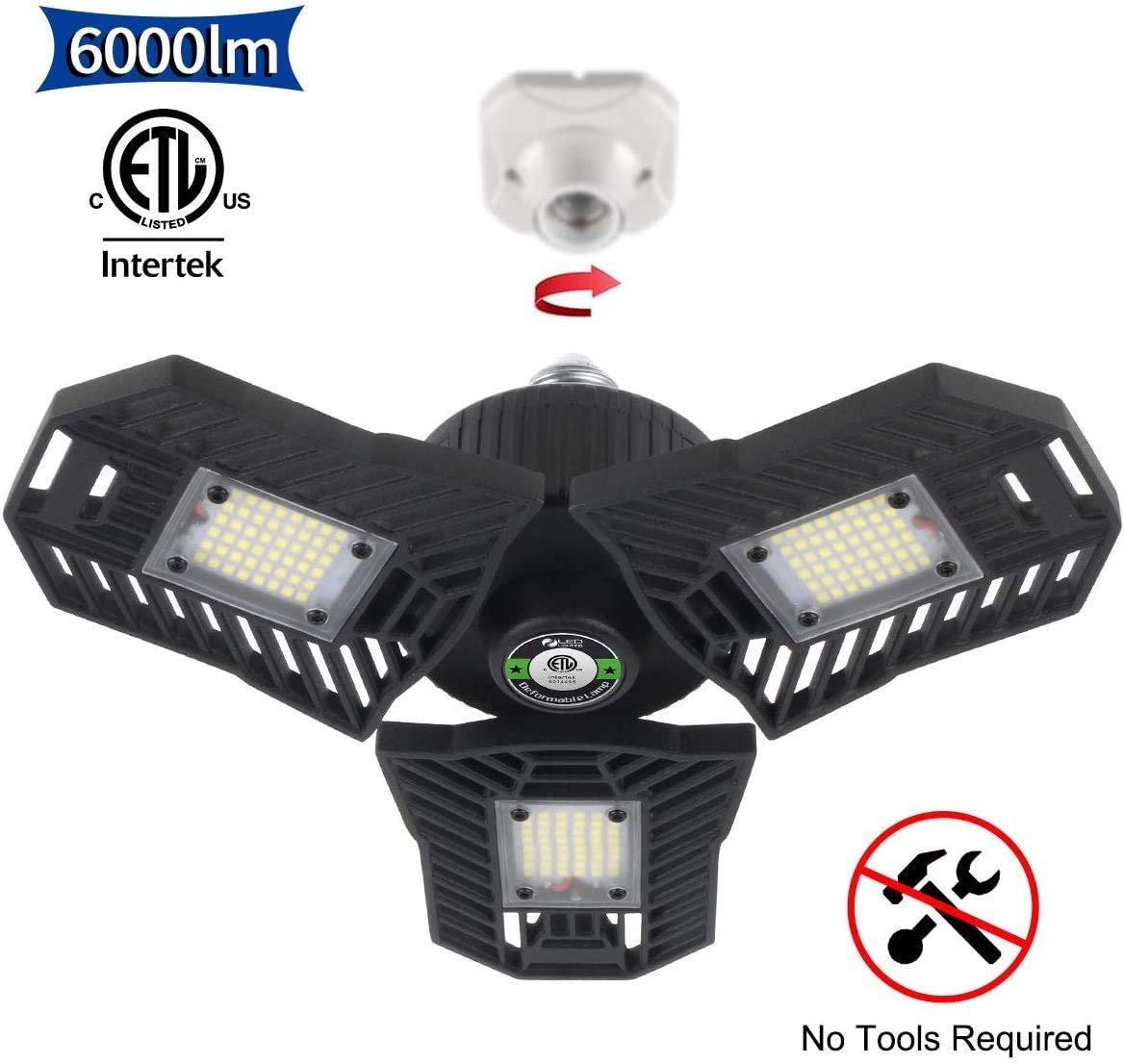 Falive Garage Lighting 60W 6000 Lumens Three Leaf Garage Light Super Bright Led