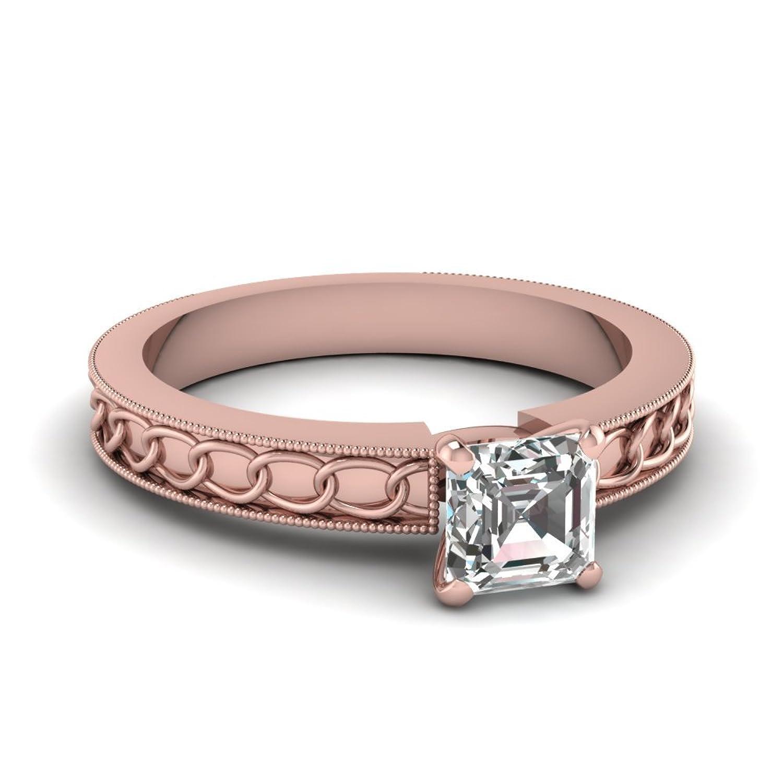 luxrygold 14K Rose Gold Pl 1 CT Asscher Cut White CZ Diamond Chain ...