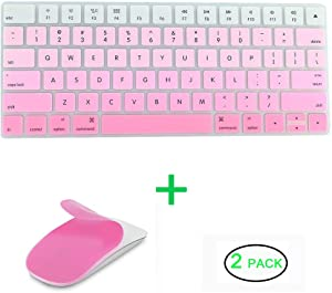 JIFF 2 in 1 Bundle - Silicone Soft Skin Protector Covers for Apple Magic Keyboard (MLA22LL/A) with US Layout and MAC Apple Magic Mouse (Pink)