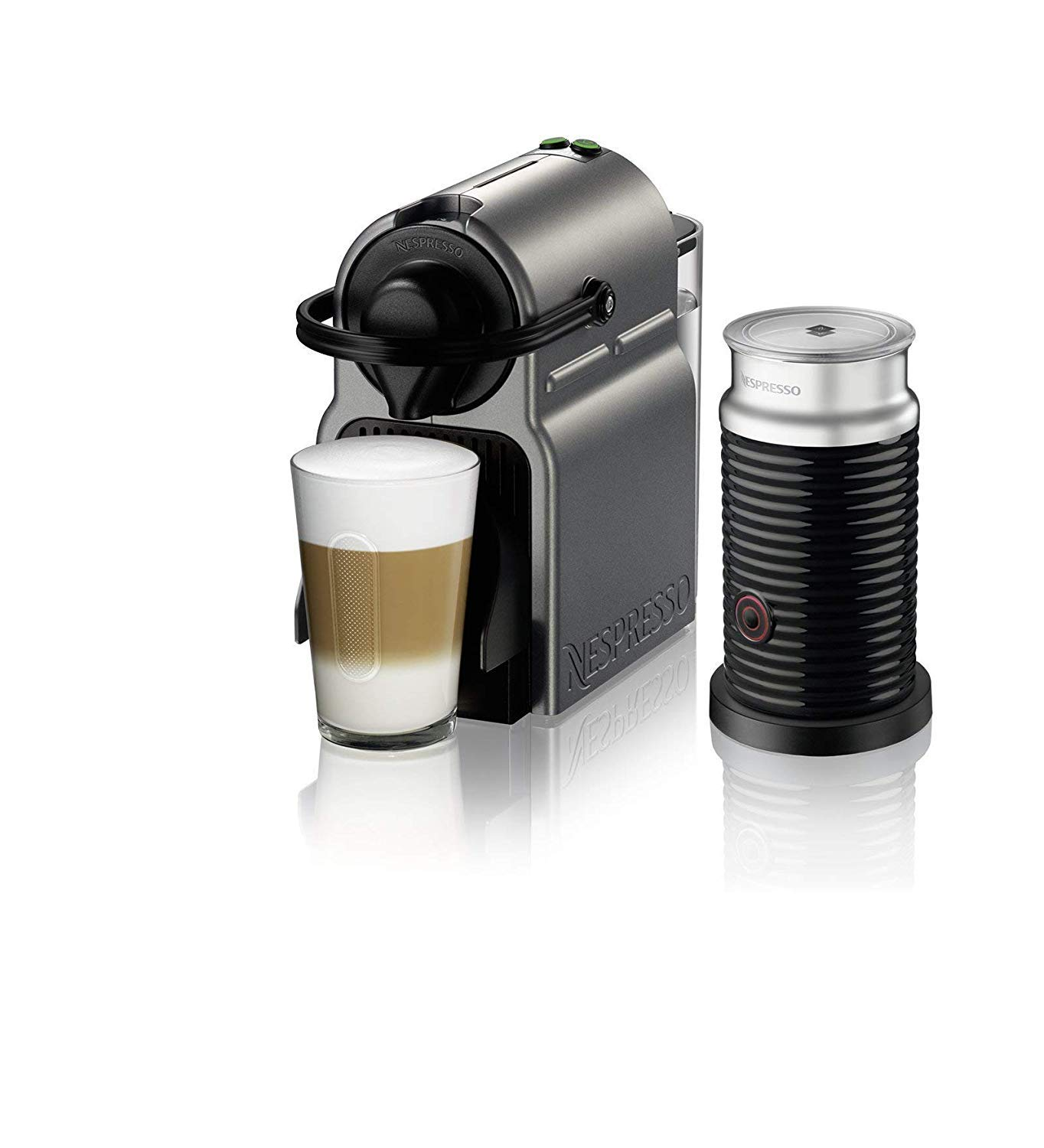Nespresso Inissia Original Espresso Machine with Aeroccino Milk Frother Bundle by Breville, Titan (Renewed)
