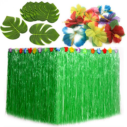 Luau Party Supplies. 1 Green Hula Grass Table Skirt + 24 Hibiscus Flowers + 12 Tropical Leaves. Hawaiian, Moana, Maui Theme Birthday Party Decorations (1, (Tiki Table Decoration Package)