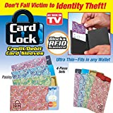 Card Lock RFID Protection Credit Card Sleeves, Paisley Print Set of 4 - As Seen On TV Blocks RFID Scanners