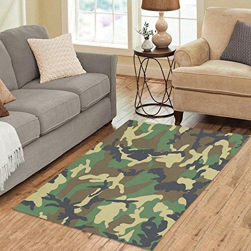 InterestPrint Green Camo Camouflage Area Rug Floor Mat 5'...