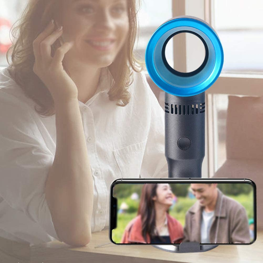 2019 Newest Desktop Portable Wingless Electric Fan GJF USB Bladeless Fan Home Office Bedroom Camping Holiday-Pink Handheld Mini Fan Mobile Phone Holder