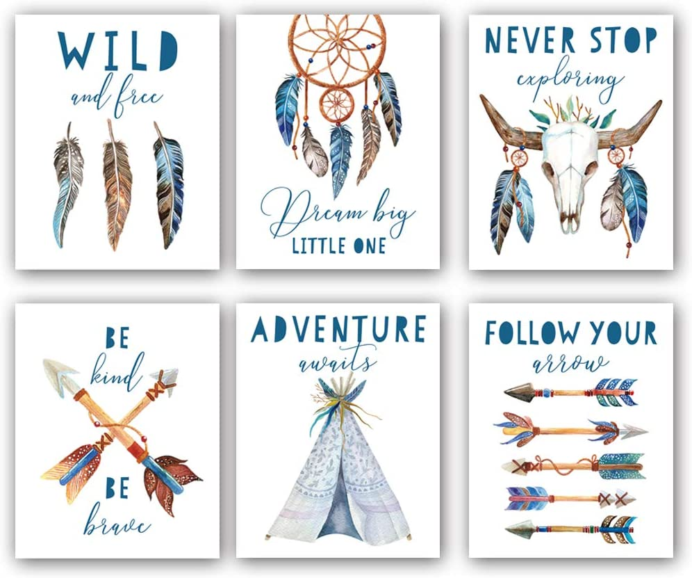 "Watercolor Boho Tribal Art Print,Feather Arrow Bull Skull Nursery Canvas Wall Art,Set of 6(8""X10"",Unframed) Bohemian Inspirational Saying Wall Painting For Kids Baby Room Decor"