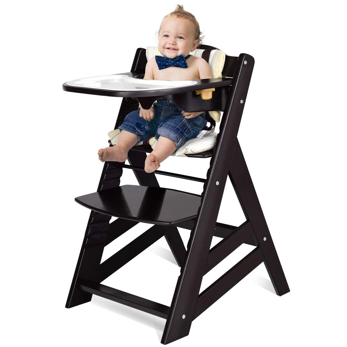 Costzon Wooden High Chair, Baby Dining Chair with Adjustable Height, Removable Tray, 5-Point Safety Harness, Padded Cushion, Perfect Toddlers Feeding Chair by Costzon