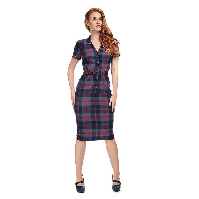 ce7437eba94f Collectif Vintage Women's Blue Red Caterina Merida Check Pencil Dress UK 14