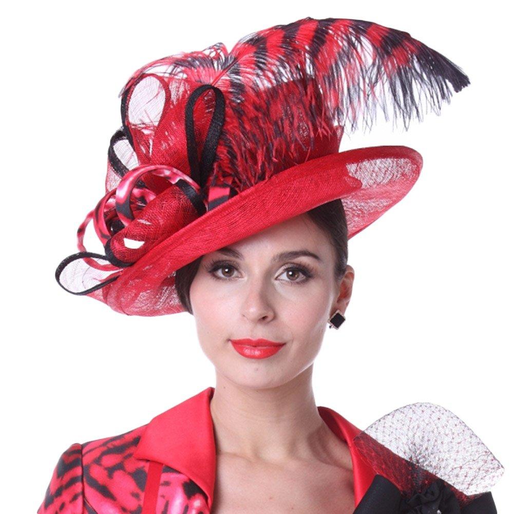 Kueeni Women Sun Hats Feather Special Designer Fashion Style Sinamay Hats  at Amazon Women s Clothing store  c72c8e8306ce