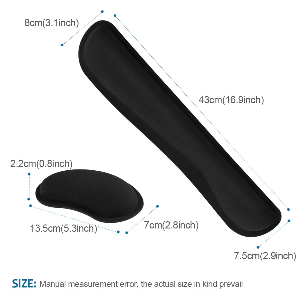 HENVREN Memory Foam Keyboard and Mouse Wrist Rest, Lightweight Support Pad for Easy Typing&Pain Relief, Durable&Comfortable Wrist Cushion Fit for Office, Computer and Home by HENVREN (Image #4)