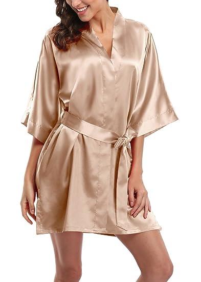 Women s Short Satin Kimono Robes Pure Color Sleepwear Bathrobe for Wedding  Party at Amazon Women s Clothing store  65ed43a2c