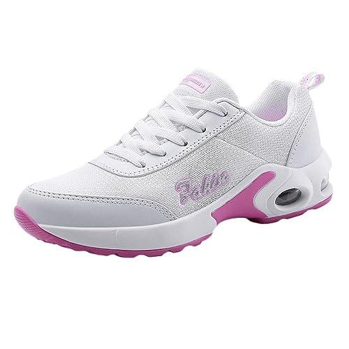 Zapatillas Deportivas Moda De Mujer,Zapato Deportivo con Cordones Antideslizante Y Plataforma De Malla De Ocio para Mujer Zapatillas De Deporte con Fondo ...
