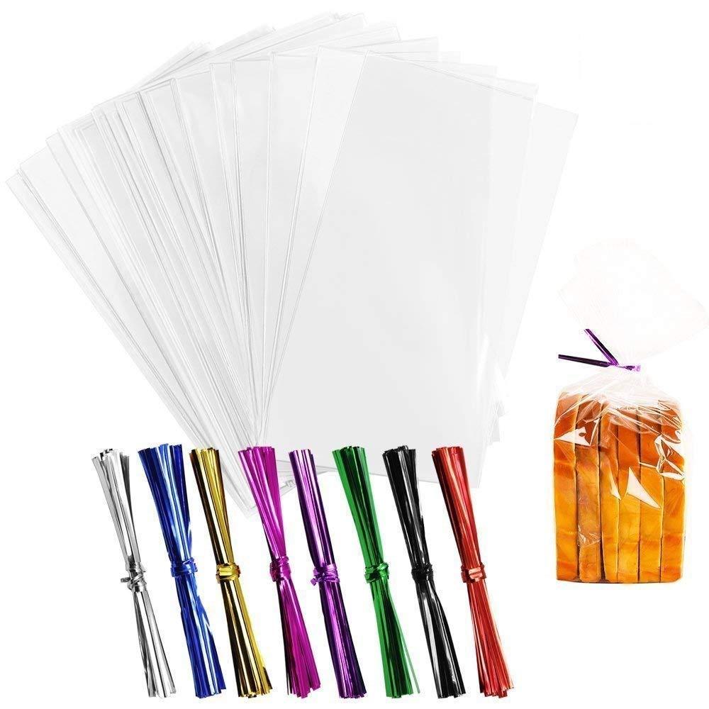 Homgaty, 200 bolsas de celofán transparente con 260 lazos para hacer regalos en Navidad o bodas de galletas o caramelos