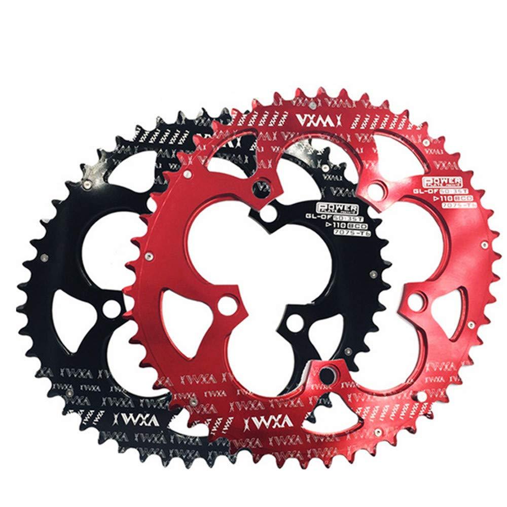 自転車用チェーンリング 自転車ダブルオーバルチェーンリング110BCDチェーンホイール、ロードバイク、マウンテンバイク、BMX MTBバイク50T / 35T ほとんどのロードバイク、BMX MTBバイク用 (色 : ブラック, サイズ : 110BCD 50T/35T) 110BCD 50T/35T ブラック B07P9XHZFD