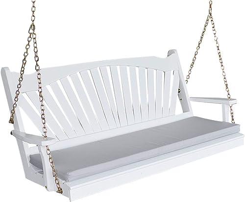 White Porch Swing 5' Fan Back Amish Hanging Swings Solid Wood Swinging Bench Fanback