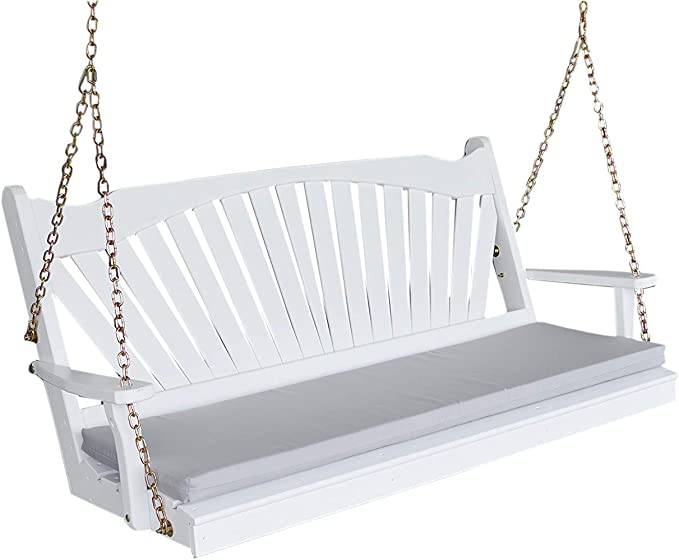 Amazon Com White Porch Swing 5 Fan Back Amish Hanging Swings Solid Wood Swinging Bench Fanback Kitchen Dining