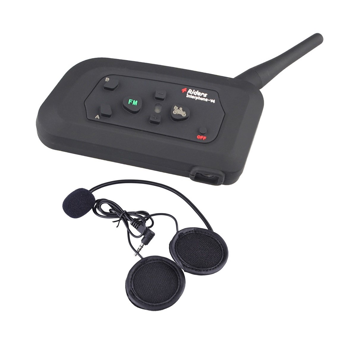 Vnetphone V4 Bluetooth Intercom Motorcycle 4 Riders Helmet Waterproof Interphone 1200M Range - Multi Wireless communication support FM Great for Snowmobile Skiing Riding(1 PC)