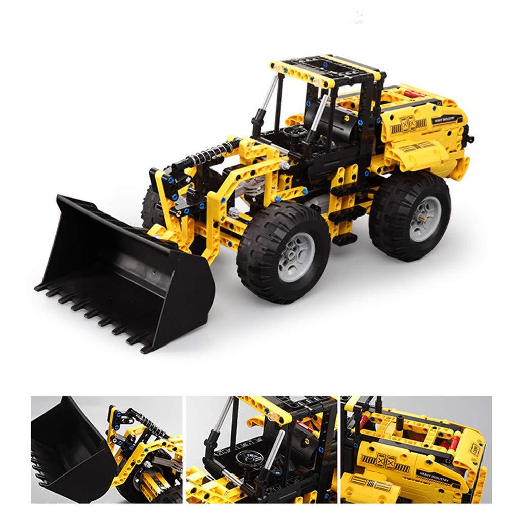 CreazyBee 2.4G Wheel Loader Vehicle DIY Building Blocks Bricks RC Simulation Car Toys (Yellow) by CreazyBee