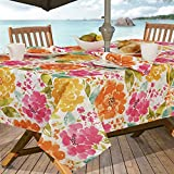 #6: Casual Living by Newbridge Evelyn Indoor Outdoor Polyester Table Linens, 60-Inch by 84-Inch Oblong (Rectangle) with Umbrella Hole and Zipper Tablecloth