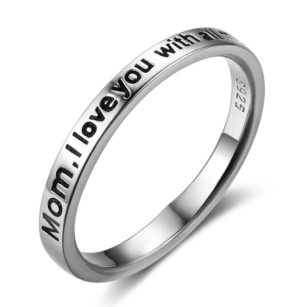 925 Sterling Silver 'Mom I Love You With All My Heart' Band Ring, Size 6 7 8 (7)
