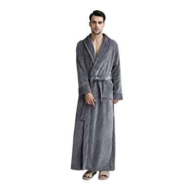 ec00b6f13a DoMii Womens Long Thick Fleece Robe Soft Spa Plush Full Length Velvet  Bathrobe Sleepwear Nightgown Grey