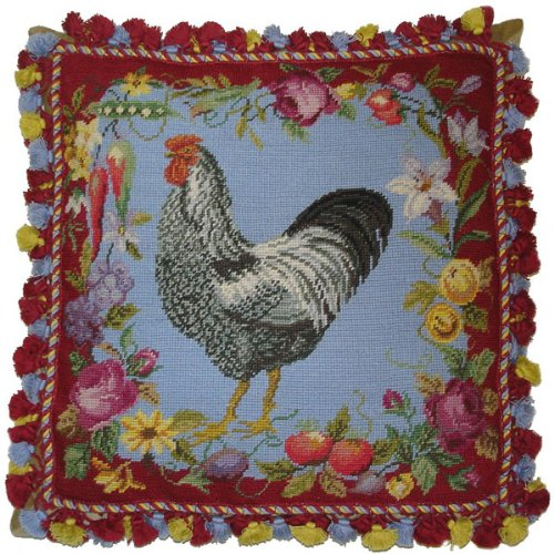 en and Red - 20 x 20 in. needlepoint pillow ()