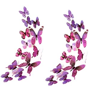 Heansun 24 PCS Butterfly Wall Decals, Butterfly Wall Stickers for Room Home Nursery Decor (Purple)
