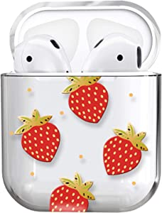 AirPods Case,Cute Clear Smooth TPU [No Dust] Shockproof Cover Case for Apple Airpods 2 &1,Kawaii Fun Cases for Girls Kids Teens Air pods (Strawberry)