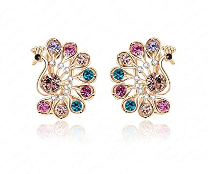 5f9f5c4bf413b2 Colorful Austrian Crystal Peacock design Jewelry Studs: Amazon.in:  Electronics