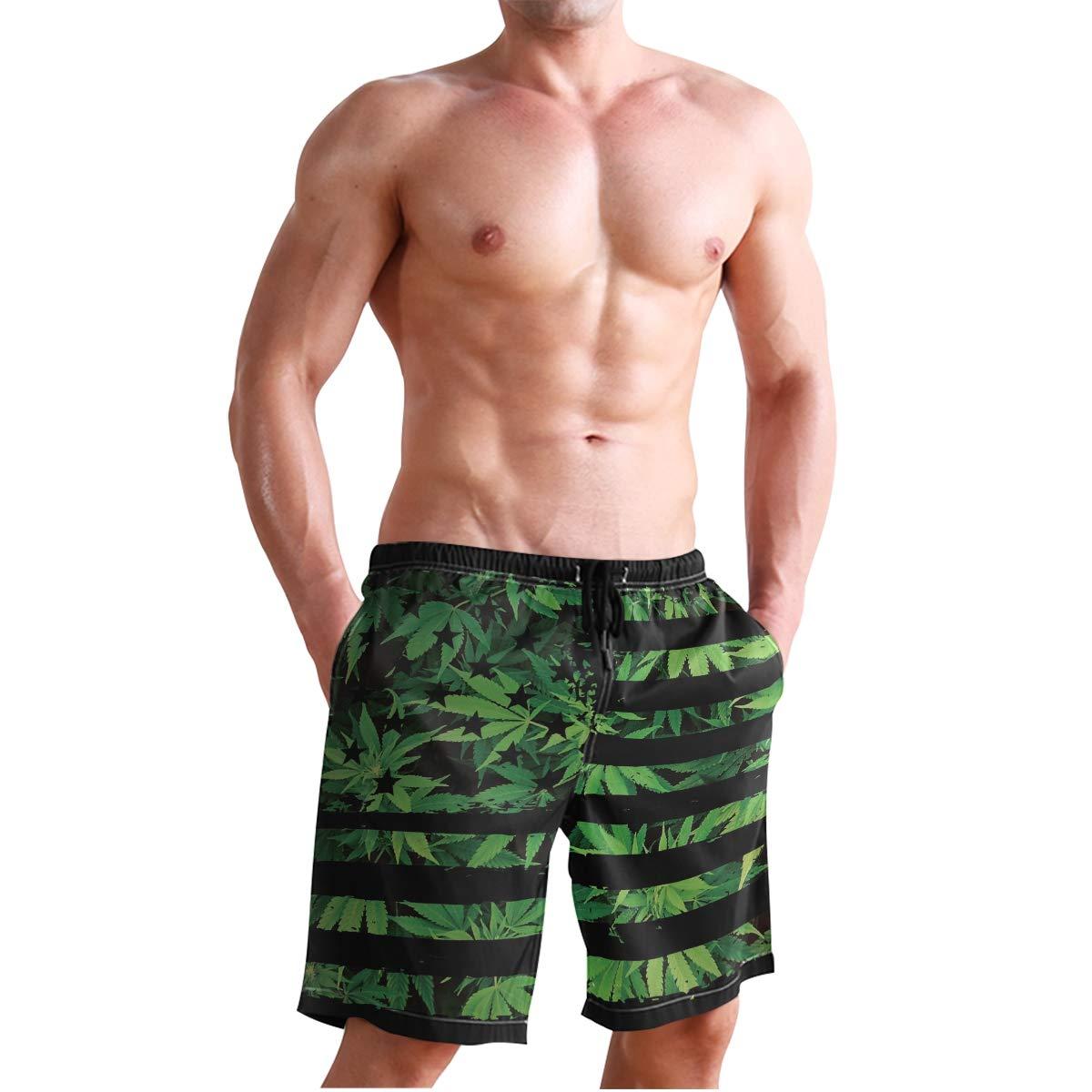 DongDongQiang Men Summer Weed USA Flag Quick Dry Volleyball Beach Shorts Board Shorts