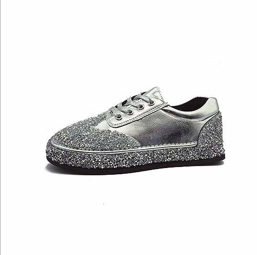 Zapatillas Planas de Mujer Zapatos Casuales Rhinestones Zapatos de Piso Grueso Zapatos de Estudiante Velcro atlético Rojo/Plata Tamaño 35-40: Amazon.es: ...