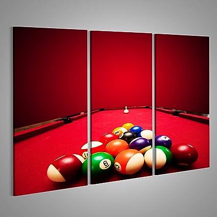 Cuadro Cuadros Bolas de Colores de Piscina Juegos de Billar en el triángulo, el paño Rojo Bola de señal Impresión sobre Lienzo - Formato Grande - Cuadros Modernos: Amazon.es: Hogar
