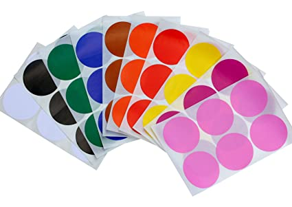 Round 2 inch dot stickers 10 assorted colors red yellow brown