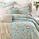 Sisbay Vintage Paris Foral Print Bedding,Chic American Country Girls Duvet Cover,Romantic Queen Size Cotton Bed Sheet,4pcs