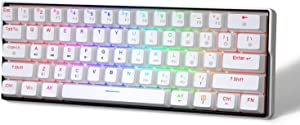 KEMOVE 61 Snowfox hot swappable Bluetooth 5.1 Wireless/Wired 60% RGB Mechanical Gaming Keyboard, PBT Keycap, Full Keys Programmable for Win/Mac - White (Gateron Blue Mechanical Switch)