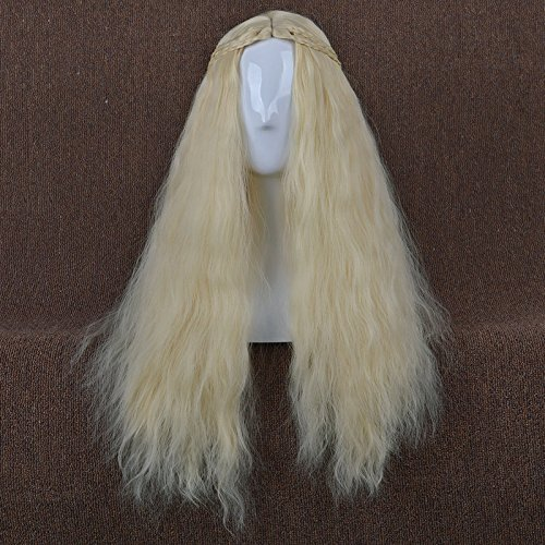 LightInTheBox Long Wavy Curly Hair Wigs Heat Resistance Game of Thrones Cosplay Wig Daenerys Targaryen khaleesi Cosplay Costume Wig (Blonde)